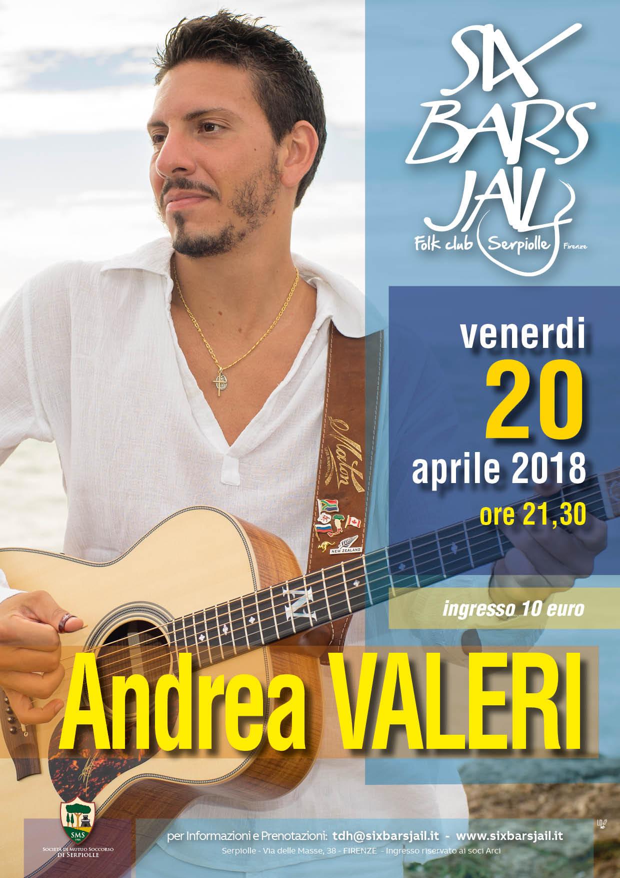 Andrea VALERI in concerto al SIX BARS JAIL di Firenze 20.4.18