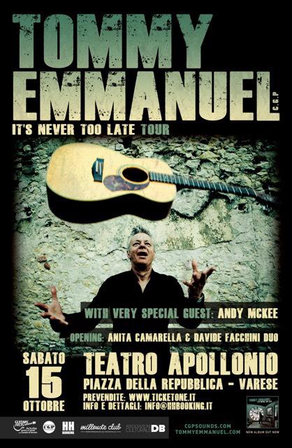 Tommy Emmanuel, Andy McKee e Anita Camarella & Davide Facchini Duo