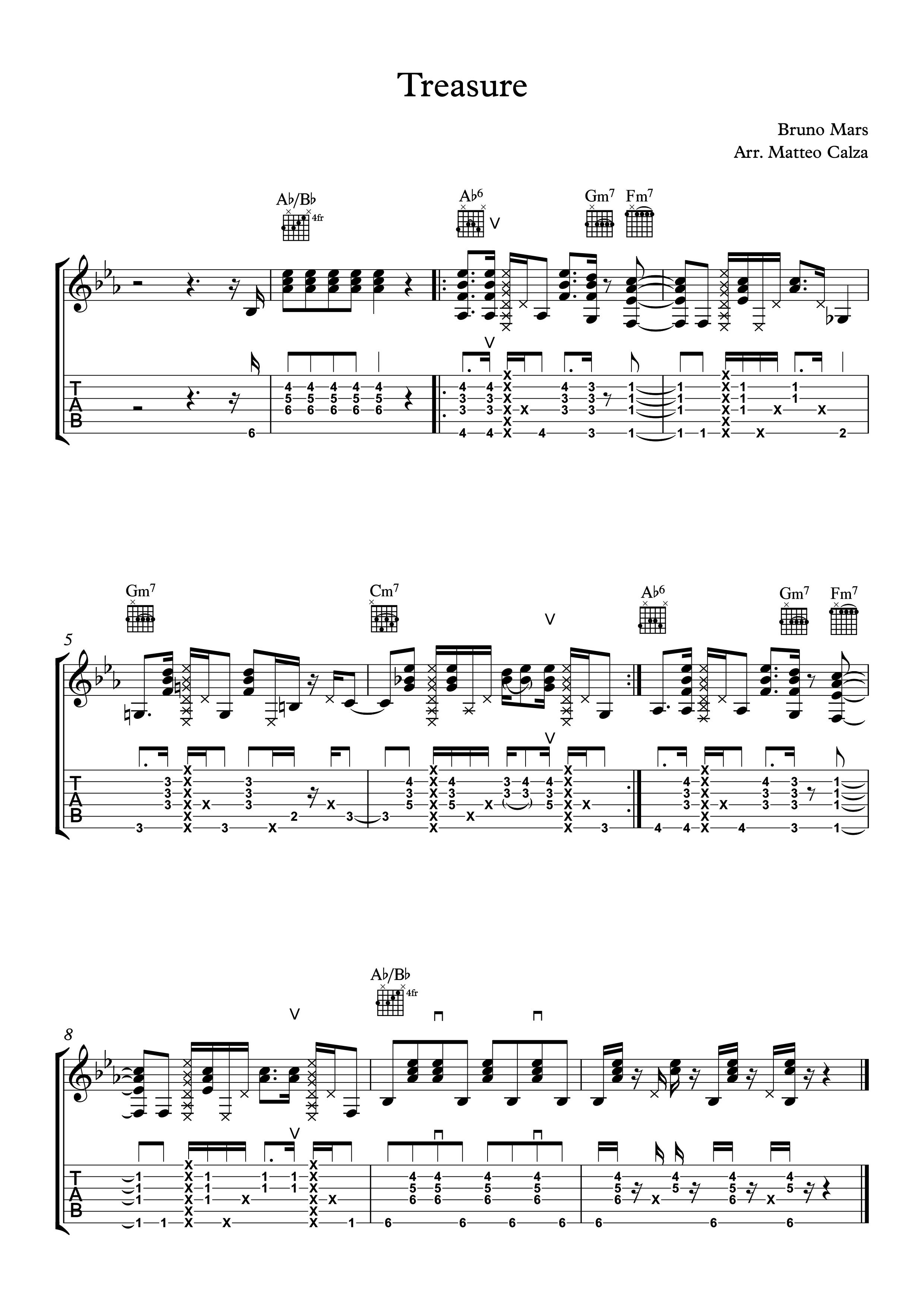 """""""Treasure"""" di Bruno Mars con la chitarra acustica"""