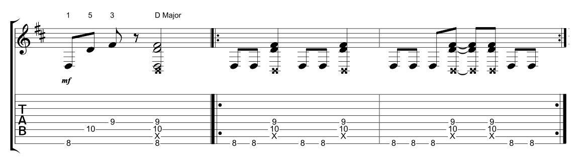 Suonare gli accordi su una otto corde