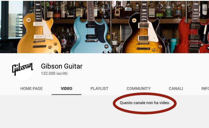 Tutti i video Gibson su YouTube sono spariti